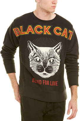 Gucci Black Cat Print Cotton Sweatshirt