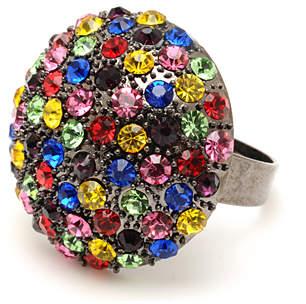 Gunmetal & Rainbow Crystal Priscilla Stretch Ring