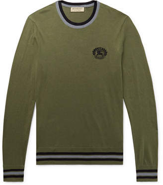 Burberry Slim-Fit Logo-Embroidered Cotton and Silk-Blend Sweater - Men - Army green