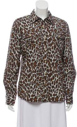 457be197fe9d8f Pre-Owned at TheRealReal · Tory Burch Animal Print Button-Up Top