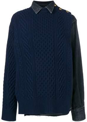 Sacai hybrid denim knitted jumper