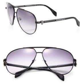 Alexander McQueen 63MM Oversized Aviator Sunglasses