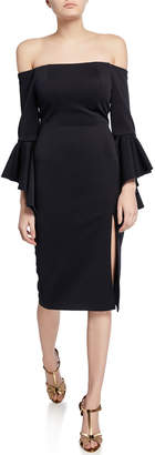 Jovani Off-the-Shoulder Double Trumpet-Sleeve Scuba Dress