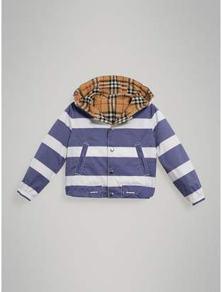 Burberry Reversible Stripe and Vintage Check Cotton Jacket