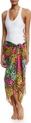Anna Coroneo Pineapples Classic Voile Pareo, Pink/Yellow $198 thestylecure.com
