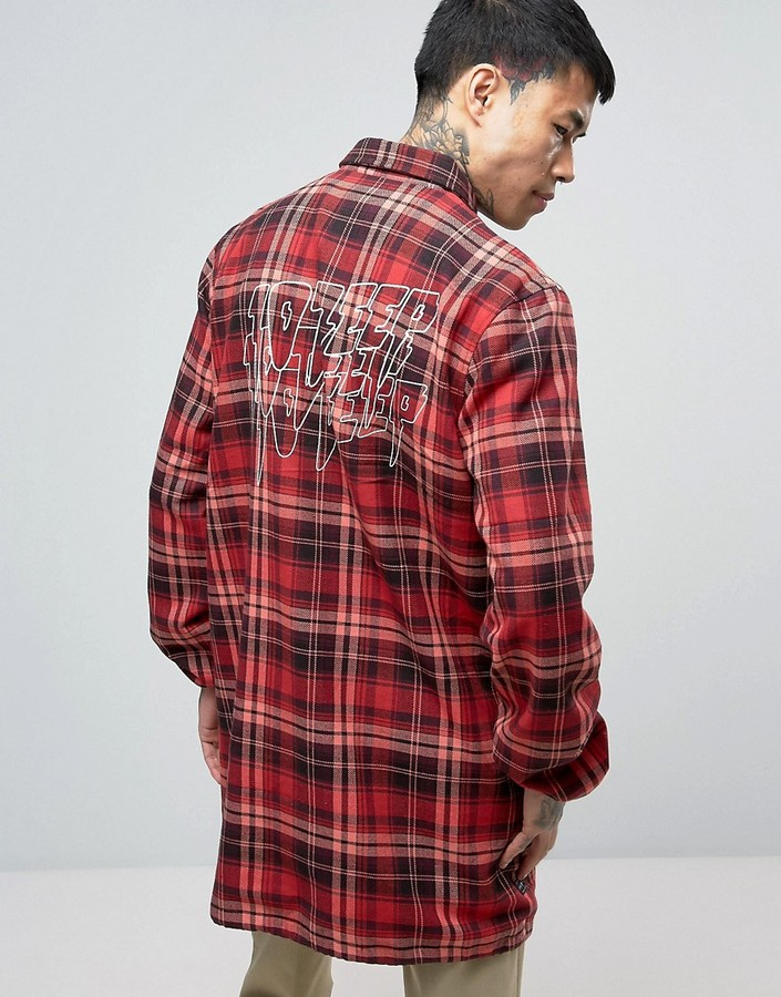 10.Deep 10 Deep Flannel Long Coach Jacket With Back Print