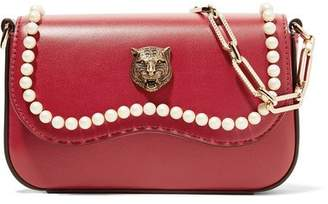 Gucci Broadway Shoulder Embellished Pearl Tiger Head Mini Red