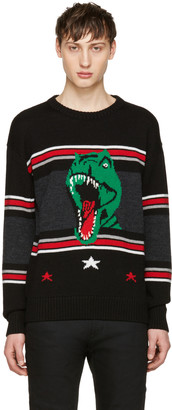 Saint Laurent Black T-Rex Sweater $990 thestylecure.com
