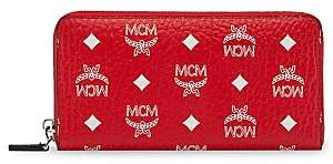 MCM Women's White Logo Visetos Zip-Around Wallet