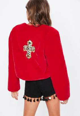 Missguided Red Festival Badge Faux Fur Jacket