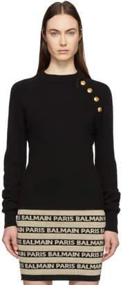 Balmain Black Cashmere Button Sweater