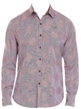 Robert Graham Men's Tomlinson Tonal Floral Button-Down Shirt - Blue - Size XXL
