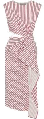 Jason Wu Cutout Draped Striped Poplin Dress