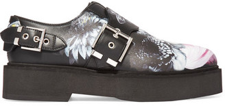 Alexander McQueen - Printed Leather Platform Loafers - Black $985 thestylecure.com
