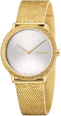 Calvin Klein Calivn Klein Women Swiss Minimal Yellow Gold-Tone Pvd Stainless Steel Mesh Bracelet Watch 35mm