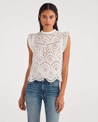 7 For All Mankind Eyelet Sleeveless Top in White