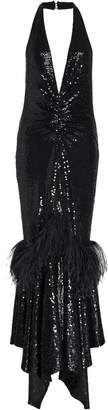 Michael Kors Feather Embroidered Halter Dress