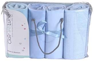 Clair De Lune Cot Sheets Bedding Bale Gift Set, Blue, 4 Piece