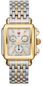 Michele Deco 18 Diamond, Mother-Of-Pearl, 18K Goldplated& Stainless Steel Chronograph Bracelet Watch