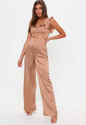 Missguided Bronze Satin Wide Leg Trousers