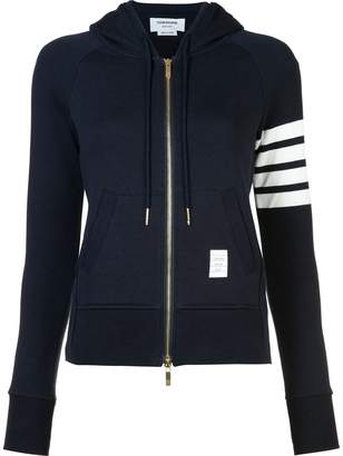 Thom Browne Womens Full Zip Hoodie With Engineered 4-Bar Stripe