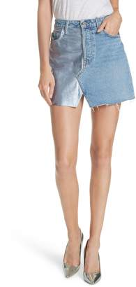 GRLFRND Milla Metallic Leather Panel Denim Miniskirt