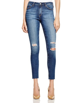 AG Destructed Skinny Midi Ankle Jeans in Dark Blue - 100% Exclusive $198 thestylecure.com