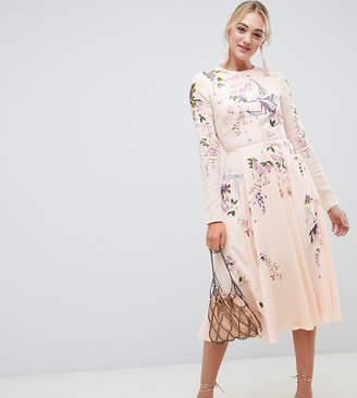 Asos Tall DESIGN Tall midi dress with pretty floral and bird embroidery