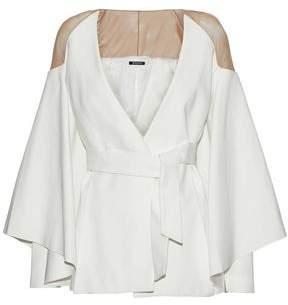 Balmain Belted Mesh-Paneled Crepe Jacket