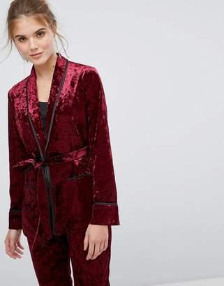 True Decadence Premium Crushed Velvet Tie Waist Suit Top