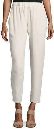 Eileen Fisher Silk Georgette Crepe Slouchy Ankle Pants $258 thestylecure.com