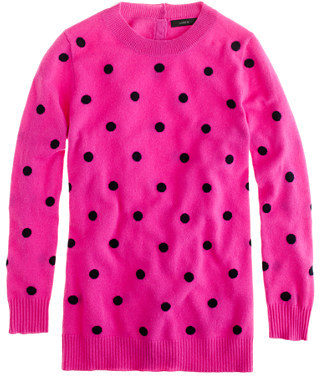 J.Crew Collection cashmere polka-dot sweater