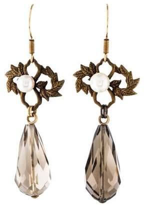 Stephen Dweck Smoky Quartz & Pearl Laurel Leaf Drop Earrings