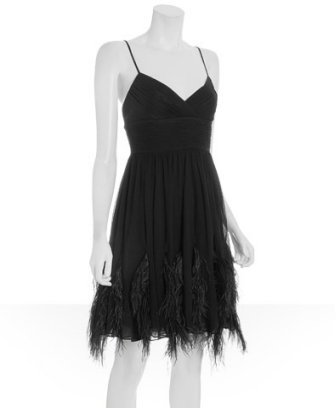 BCBGMAXAZRIA black silk chiffon ostrich feather trim dress