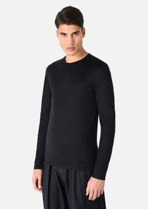 Emporio Armani Long Sleeved T-Shirt In Silk And Cotton Jersey