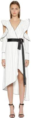 Self-Portrait Striped Asymmetric Crepe Wrap Dress