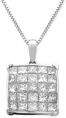 "Macy's Diamond Square Cluster 18"" Pendant Necklace (1 ct. t.w.) in 14k White Gold"