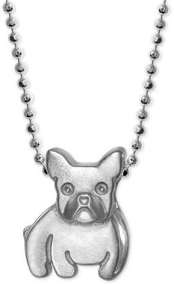 Alex Woo French Bulldog Pendant Necklace in Sterling Silver