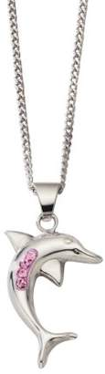 Celesta Crystelle Women's Pendant with Chain Dolphin 925 Sterling Silver Pink-Coloured Swarovski Crystals 45cm 500244406-45R