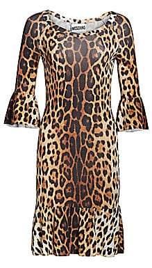 Moschino Women's Ruffle Sleeve Leopard Print Dress