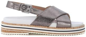 L'Autre Chose Sandal With Crossed Straps In Lead Canvas