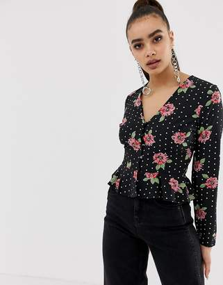 Missguided button through peplum blouse in mixed print