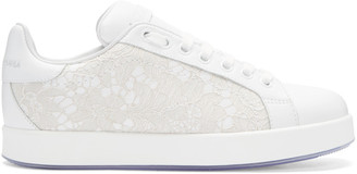 Dolce & Gabbana White Leather & Lace Sneakers $895 thestylecure.com
