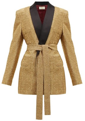 Sara Battaglia Lurex Single Breasted Tie Waist Jacket - Womens - Gold