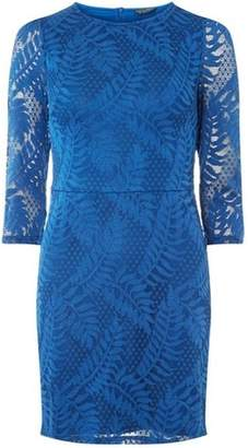 Dorothy Perkins Womens Teal Blue Leafy Lace Bodycon Dress