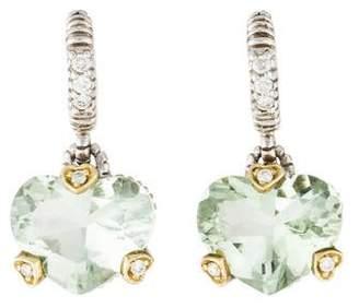 Judith Ripka Prasiolite & Diamond Fontaine Drop Earrings