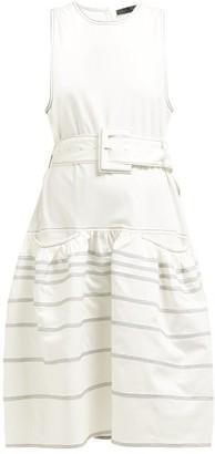 Proenza Schouler Dropped Waist Topstitched Stretch Cotton Dress - Womens - White