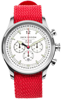 JACK MASON BRAND Men&s Brand Nautical Woven Strap 42mm Watch $275 thestylecure.com