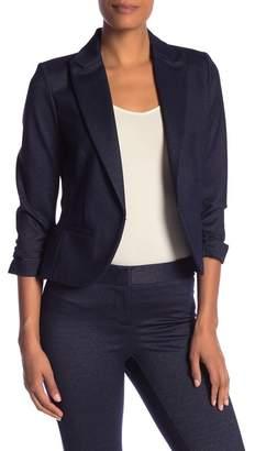 Amanda & Chelsea Denim Ponte Knit 3\u002F4 Length Sleeve Rouched Blazer