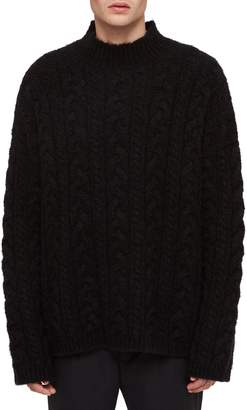 AllSaints Oversize Cable Wool Blend Funnel Neck Sweater